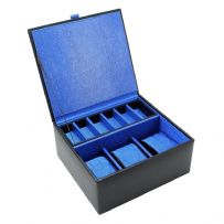Dulwich Designs 70911 Black Watch and Cufflink Box With Blue Lining